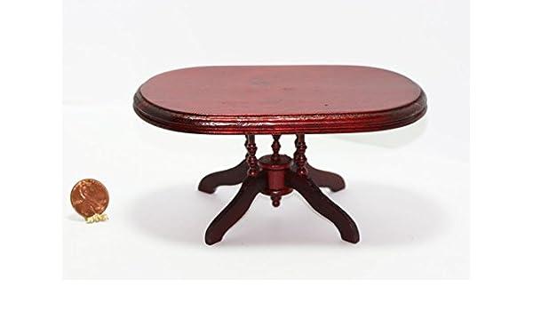 Amazon.com: Dollhouse Miniature Oval Mahogany Dining Room ...