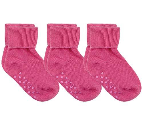 Country Kids Unisex Baby Toddler Non Skid Anti Slip Organic Cotton Socks, Pack of 3, Fits 2-4 years (shoe size 6-11.5), Bubblegum Pink
