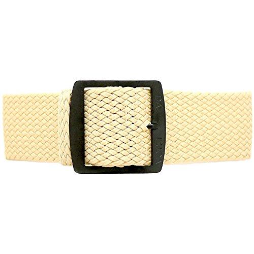 DaLuca Braided Nylon Perlon Watch Strap - Sand (PVD Buckle) : 22mm