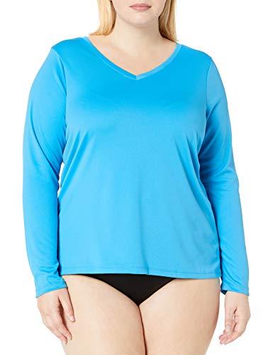 Kanu Surf Women's Plus Size Solid UPF 50+ Long Sleeve Swim Shirt Rashguard, Aqua, 1X