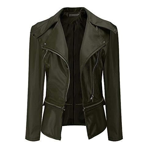 (Ninasill Clearance!Women Lapel Coat Leather Jacket Parka Overcoat Outwear(Army Green,Asian L = US M))