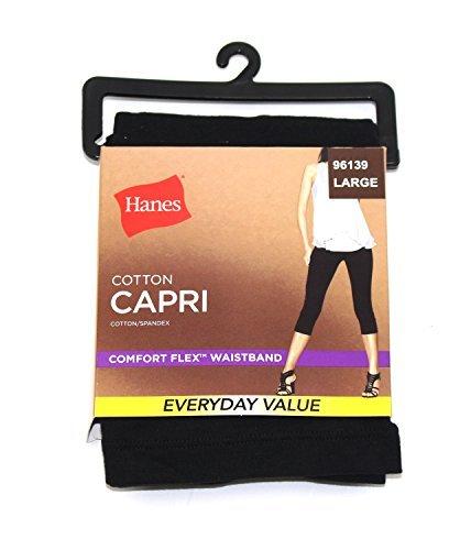 Hanes Women's Cotton Capri Comfort Flex Waistband (Small (4-6), Black) (Black Hanes Capris)