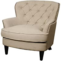 Emma Fabric Tufted Back Arm Chair,Black Legs,Khaki