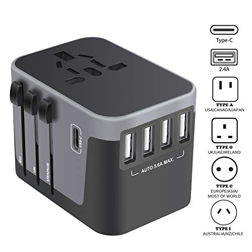 Universal Travel Adapter, USB-C International Power Adapter, Worldwide Plug Adaptor with 4 USB Ports Type-C 3.0A Fast Wall Charger, All in One AC Converter for USA UK AUS Europe Phone 150 Countries (Best Smartphone Not Made In China)