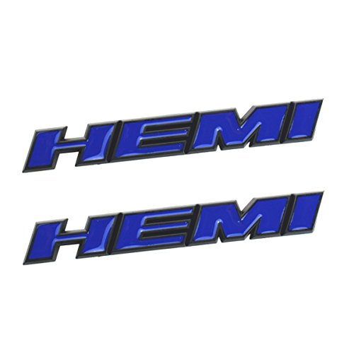 Aimoll 2pcs HEMI Side Fender Emblem Badge Plate Decal with Sticker for Dodge Charger V8 RT Ram 1500 Challenger (Blue)