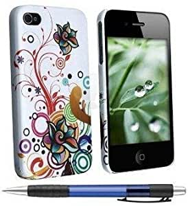 Cerhinu Pearl White Autumn Flower Design Protector Hard Cover Case Compatible for Apple Iphone 4 / 4S (AT&T, VERIZON,...