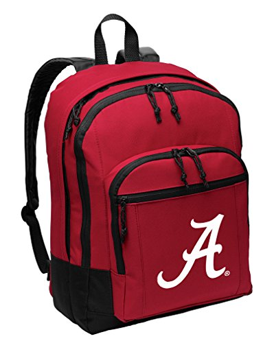 Broad Bay UA University of Alabama Backpack Medium Classic Style with Laptop Sleeve (Crimson Tide Laptop Alabama Bag)
