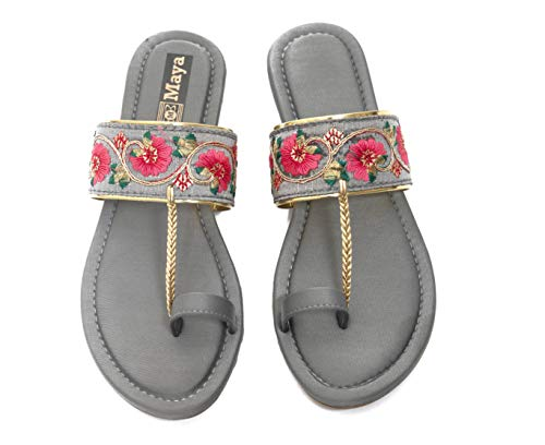 Honey Step Flats With Embroidery Design Easy to Wear For Women & Girls (Grey)