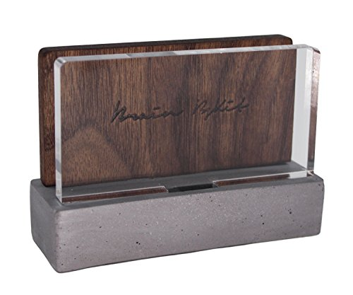 high-end-business-card-holder-for-desk-walnut-wood-with-asbestos-free-concrete-handcrafted-artistic-