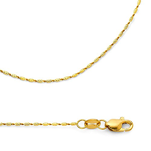 Bullet Necklace Solid 14k Yellow Gold Chain Snail Tube Diamond Cut Link Polished Thin, 0.8 mm - 16 inch 14k Yellow Gold Snail Chain