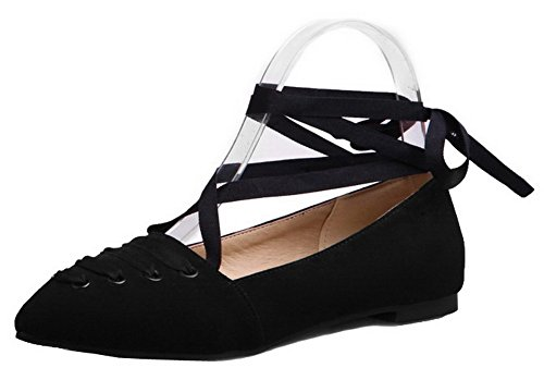 AllhqFashion Womens Frosted Closed-Toe Low-Heels Lace-Up Solid Pumps-Shoes Black u6ASU