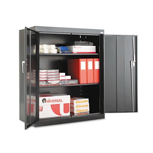 Alera 84109 36 by 18 by 42-Inch Assembled High Storage Cabinet with 2-Adjustable Shelves, Black