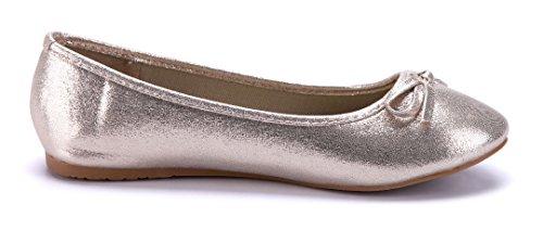 Schuhtempel24 Damen Schuhe Klassische Ballerinas Flach Zierschleife Gold