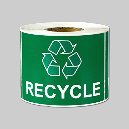 "Recycle Logo Recycling with Arrows Symbol Labels Self Adhesive Stickers (Green White / 3"" x 2"") - 300 labels per package"