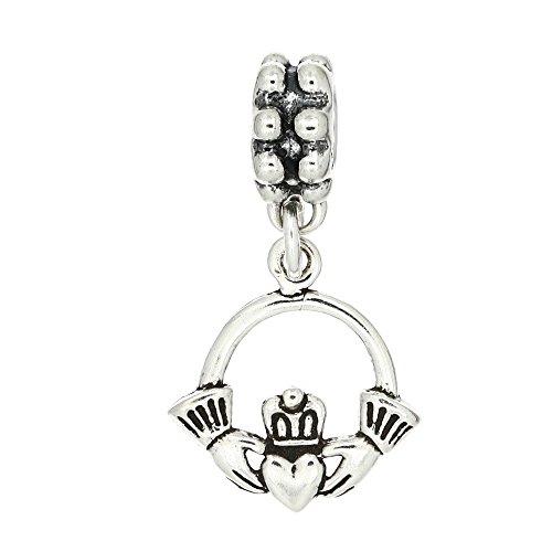 Sterling Silver Oxidized One Sided Irish Claddagh Dangle Bead - Royal International Bead Silver