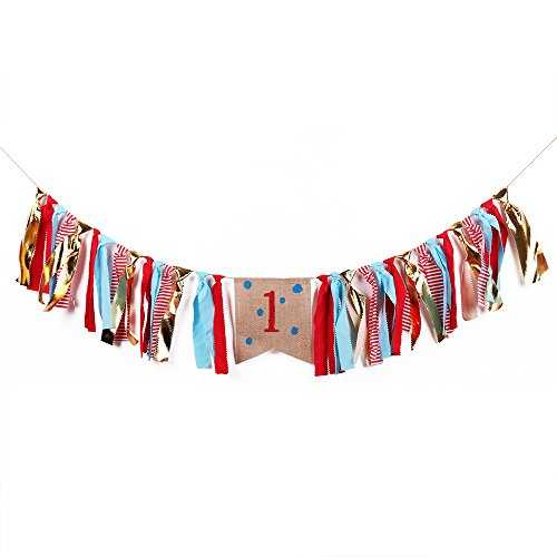 - QIYNAO Handmade Wave point Blue and Red tassel One Banner - First Baby Birthday Decorations Burlap Highchair Banner