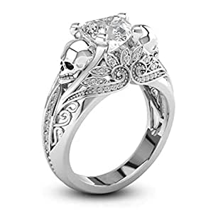 Rhodium Plated Punk Skull Heart Shaped Cubic Zirconia Solitaire Promise Engagement Ring