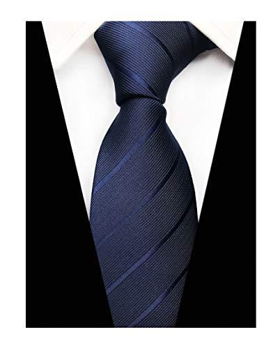 - Men Italian Skinny StripedTies Elegant Textured Solid Silk Neckties in Navy Blue
