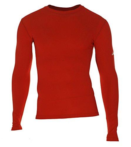 ASICS Men's Compression Long Sleeve Shirt, Red, Medium