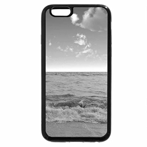 iPhone 6S Case, iPhone 6 Case (Black & White) - Foamy Waves on a Sandy Beach