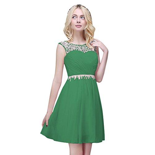 Courte En Mousseline De Soie Élégantes Femmes Besswedding Soirée Perles Sans Manches Robes De Bal Vert