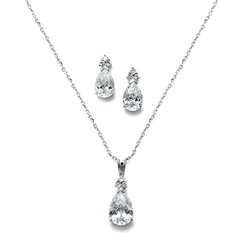 Mariell Elegant Pear-Shaped Cubic Zirconia Wedding Necklace & Earrings Set for Brides & (Pear Cut Jewelry Set)