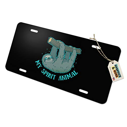 (Graphics and More My Spirit Animal is a Sloth Novelty Metal Vanity Tag License Plate)