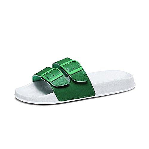 Heart&M La manera del color sólido de las mujeres de tacón bajo suela gruesa con sandalias de los deslizadores Buckles Green