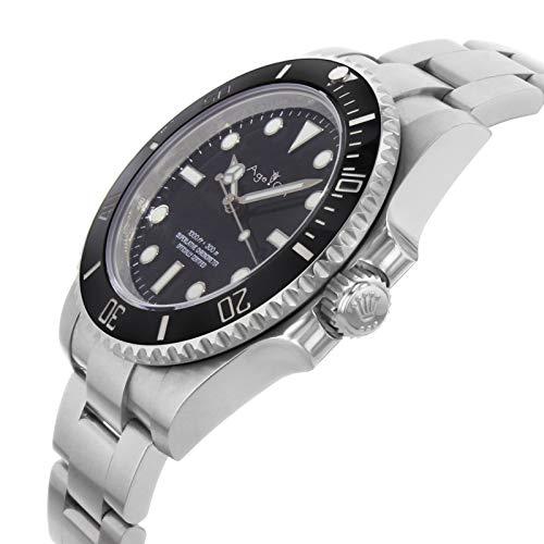 DMZZYGJR män automatiska mekaniska klockor inget datum svart blå driv keramisk infattning kristall safir sport Oyster armband svart