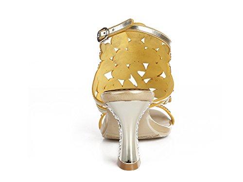 Eur Signore 39 Gold Sera Fine Strass A Donna 6 uk Sandali Di Nozze Le Patterned Tacco Medio Anno Pavone Fatto Mano Zpl Nuziale Ballo RpSq1xx