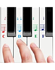 QMG Piano Stickers for All White Keys (49/61/76/88 Key Keyboards) – Bright Colorful Letters, Transparent and Removable, Perfect visual tool for kids and beginners, Key-Top design, Made in USA