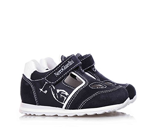 NERO GIARDINI - Blaue Schuhe aus Wildleder, mit Klettverschluss, seitlich und auf der Zunge ein Logo, Kind, Jungen, Jungs