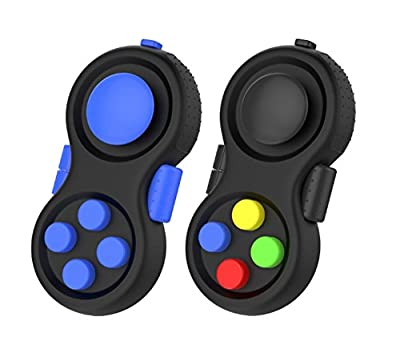 Fidget Controller Pad stress relief ADD, ADHD, Anxiety Austism Kids and Adults Killing Time(Colorful+Blue)(2 Pack)