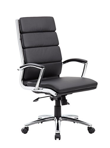 - Boss Office Products CaressoftPlus Executive Chair, Traditional, Metal Chrome Finish