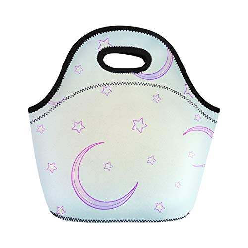 Semtomn Neoprene Lunch Tote Bag Kawaii Cartoon Night Sky Stars and Moon Crescent Festive Reusable Cooler Bags Insulated Thermal Picnic Handbag for Travel,School,Outdoors,Work]()