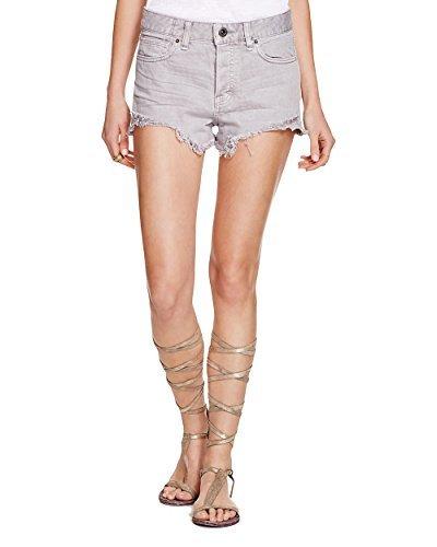 Free People Womens White Wash Frayed Hem Denim Shorts Gray 29