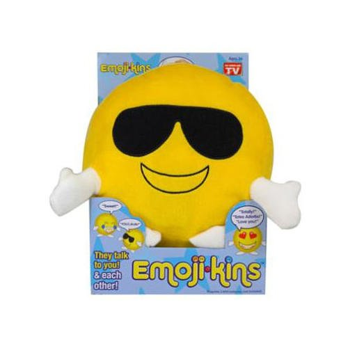 Emojikins Cool Cat Talking Pillows with Lights Emoji Pillow Stuffed Pillows Faces Round Kids Plush Soft Toy Toddlers Teens Emojies Expressions 1