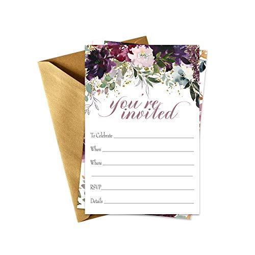 Shabby Floral Party Invitations with Shimmer Gold Envelopes Set of 15