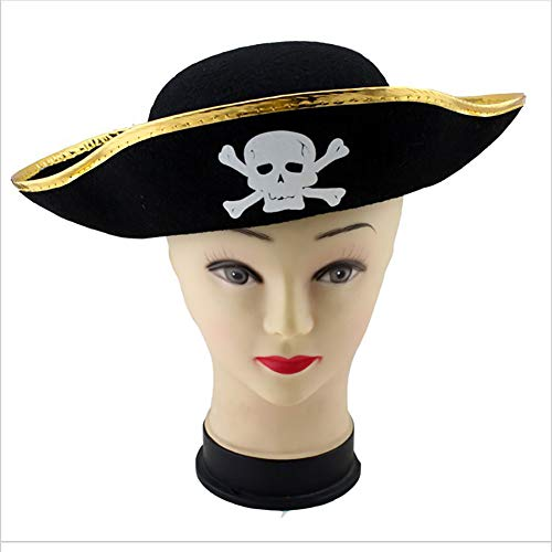Asien 1PCS Pirate Hat Halloween Masquerade Cosplay Costume Party Decor DIY Fancy Dress Up (Black+Gold) -