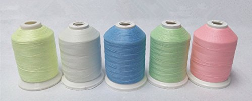 [Glow in the Dark Embroidery Thread 1000yards/spool 5spools/set] (Check 1000 Thread)