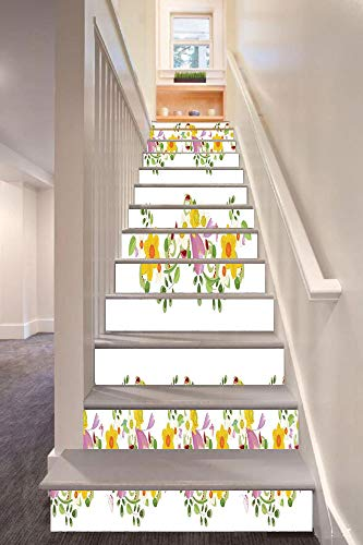 anselc05ls Daffodil 3D Stair Riser Stickers Removable Wall Murals Stickers,Horizontal Leaf and Flower Motifs Laurel Fairy Mother Earth Habitat Gardening Theme,for Home Decor 39.3