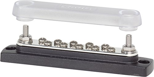 Blue Sea Systems Common 150A 10-Gang BusBar with Cover (Fuse Terminal Sea Blue Block)