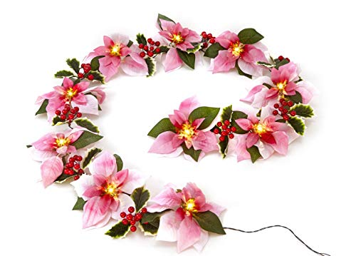 - Homeseasons Pre-Lit Velvet Artificial Poinsettia 6 feet Garland with Red Berries and Holly Leaves - 3AA Battery Operated Indoor and Outdoor Use (Pink)