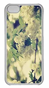 Customized iphone 5C PC Transparent Case - White Apple Flowers Personalized Cover