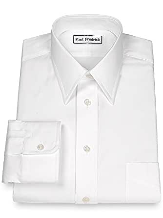 Paul fredrick men 39 s pinpoint straight collar button cuff Straight collar dress shirt