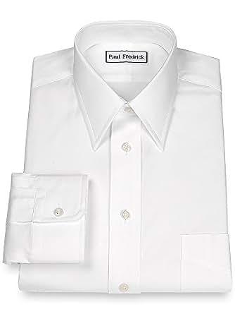 Paul Fredrick Men 39 S Pinpoint Straight Collar Button Cuff: straight collar dress shirt