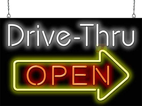Drive-Thru OPEN Neon Sign w/Right Arrow