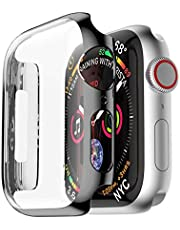 PC Frame Case cover For Apple Watch band 44mm iwatch 4 protective screen protective protector plating shell black