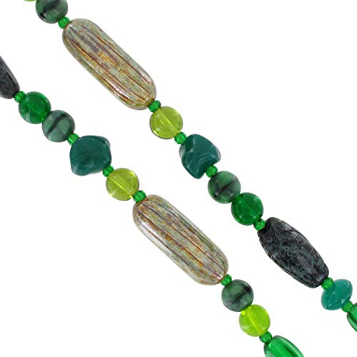 Long Czech Bohemian Glass Beaded Necklace Unique Green Earthtones 36