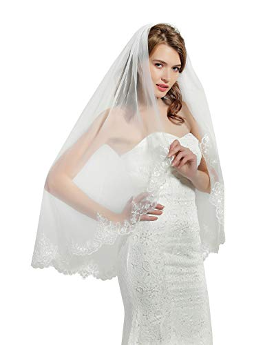 "Wedding Bridal Veil with Comb 1 Tier Lace Applique Edge Fingertip Length 41"" V85 Ivory"